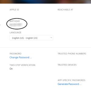 Birthday Given on iCloud ID